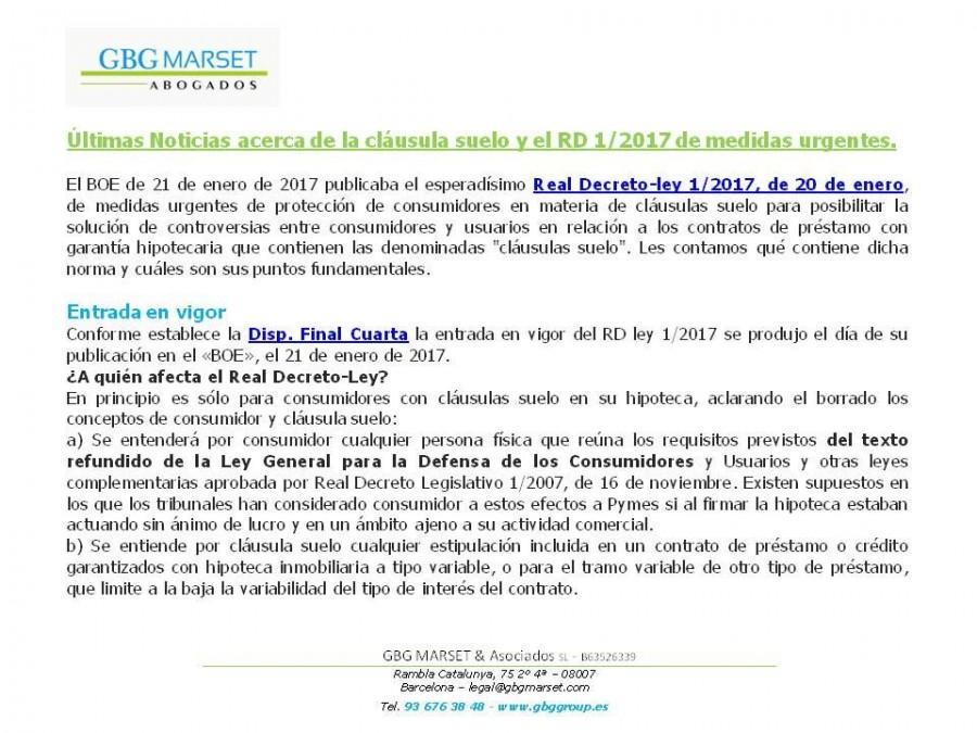Noticias gbg marset asociados for Noticias clausula suelo